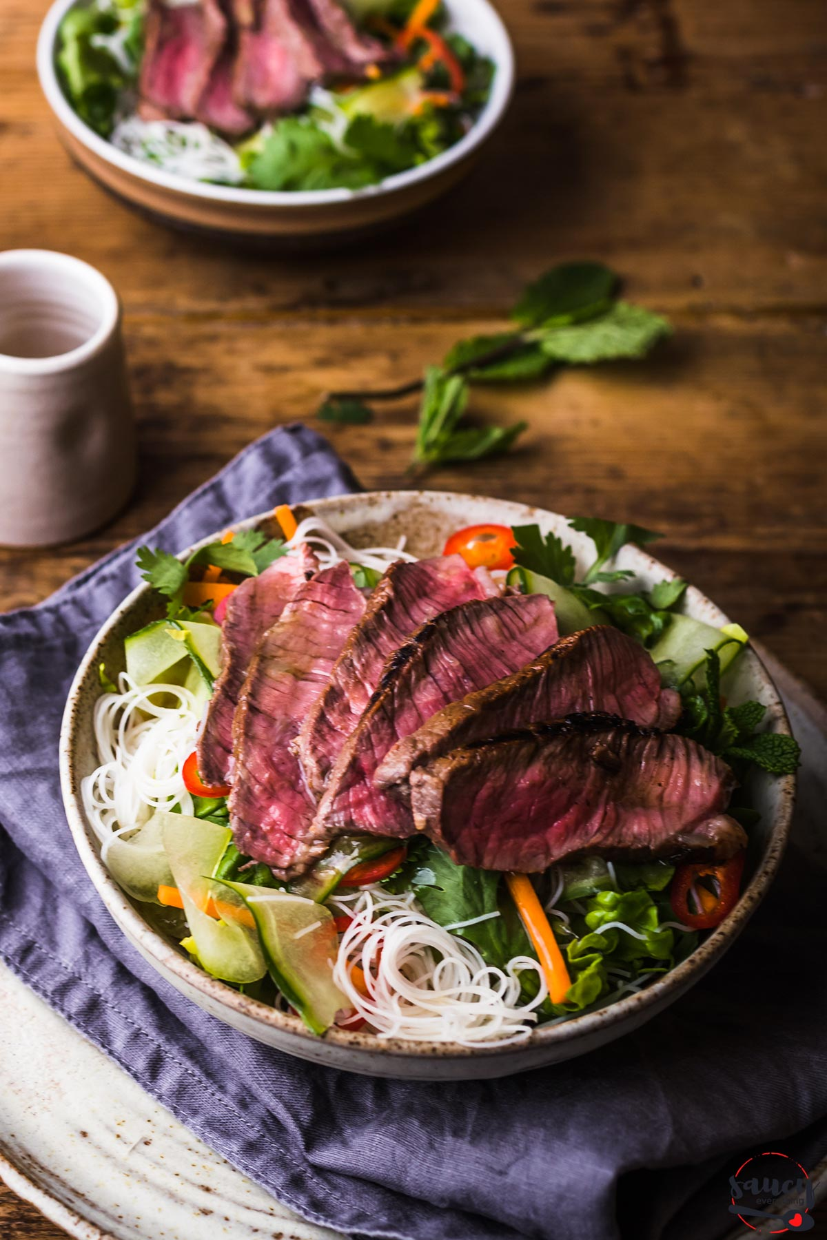 Vietnamese steak salad with dressing on the side