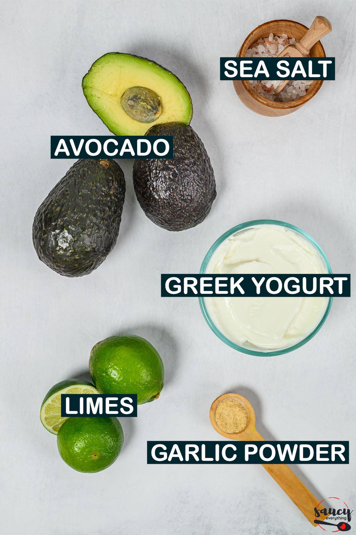 Avocado crema ingredients with labels on a white surface