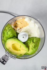ingredients for avocado crema in the food processor