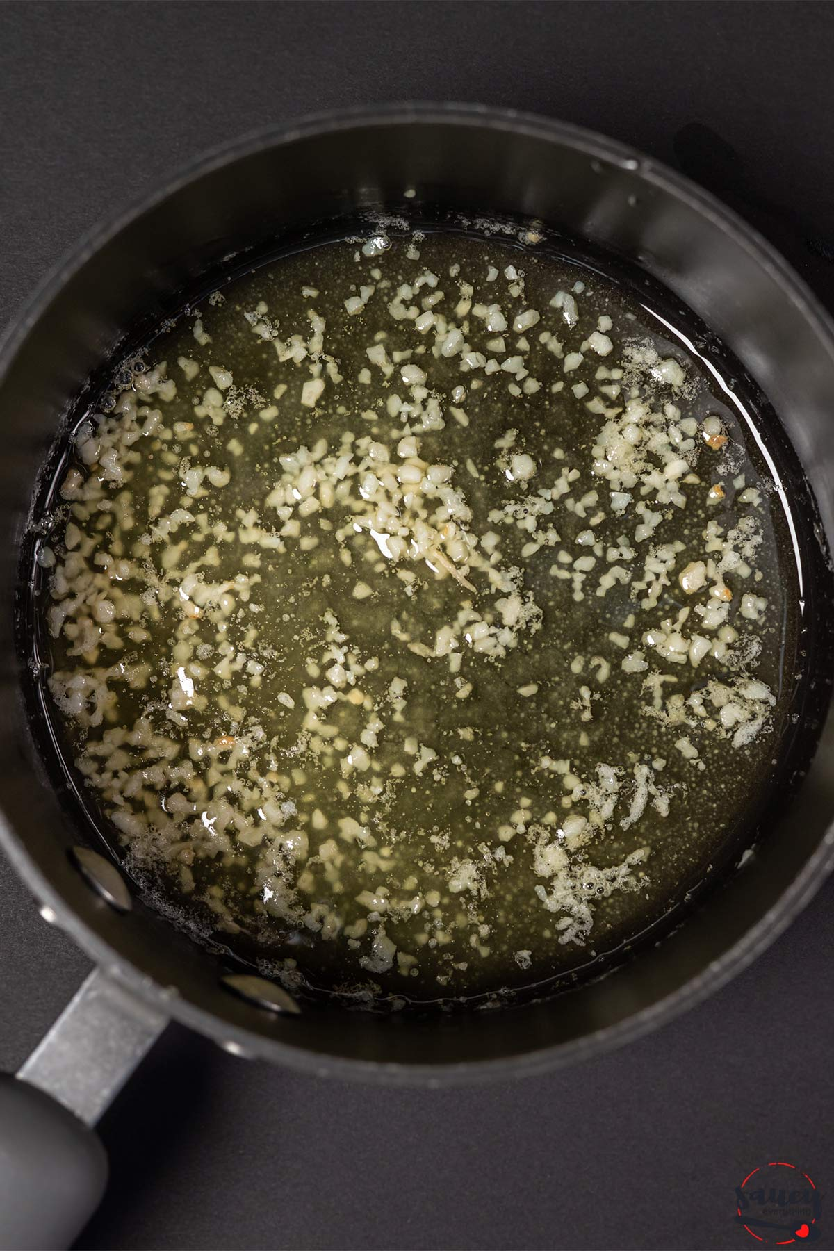 Butter and garlic in a pan
