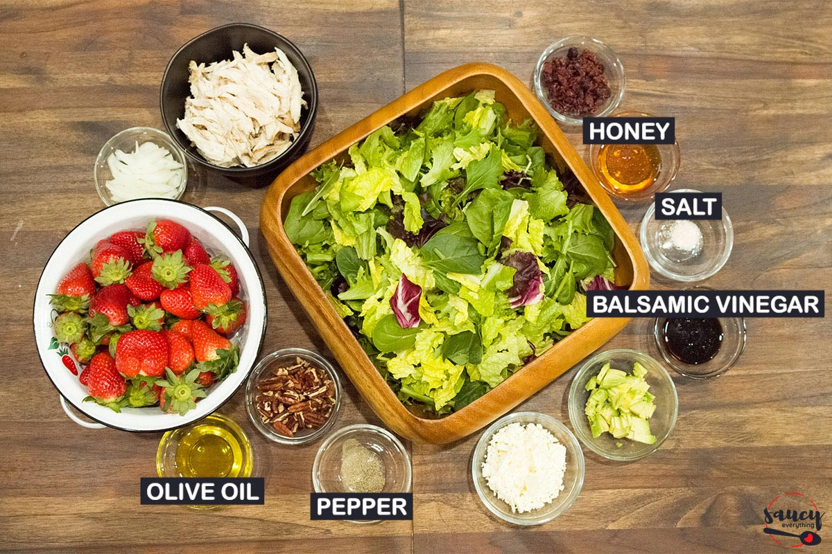 ingredients for honey balsamic vinaigrette with labels