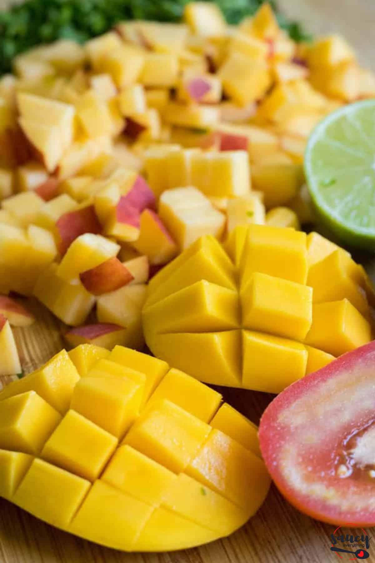 Ingredients to make peach salsa