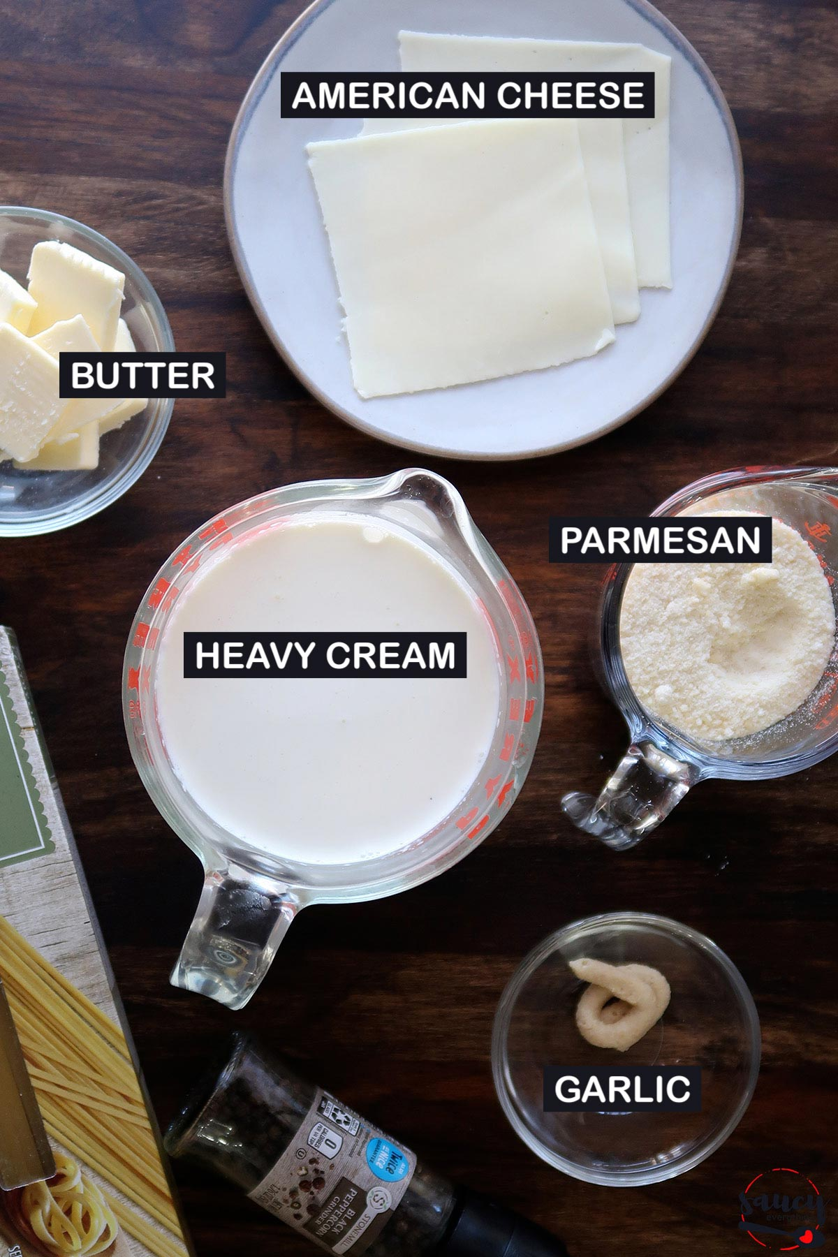 ingredients to make alfredo sauce with labels