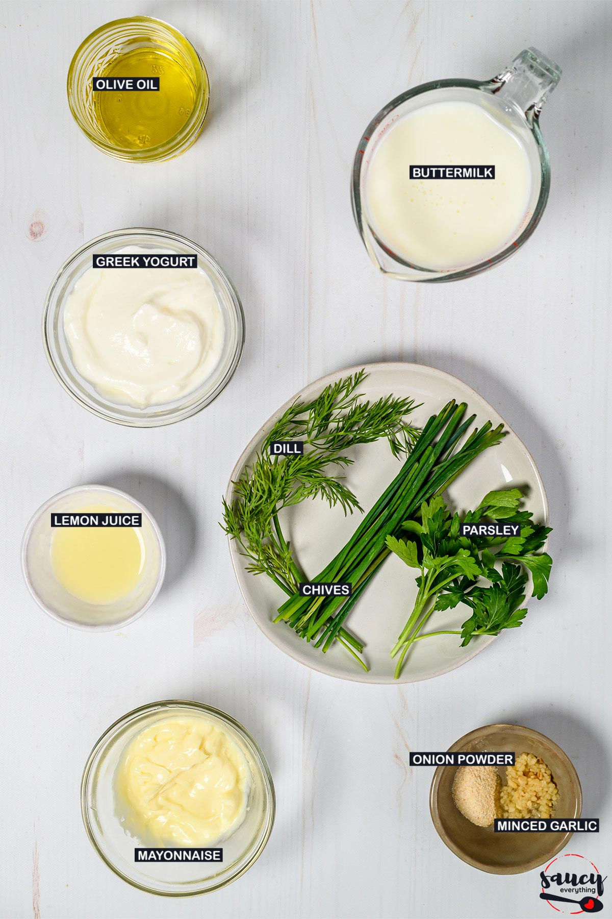 ingredients to make buttermilk ranch dressing with labels