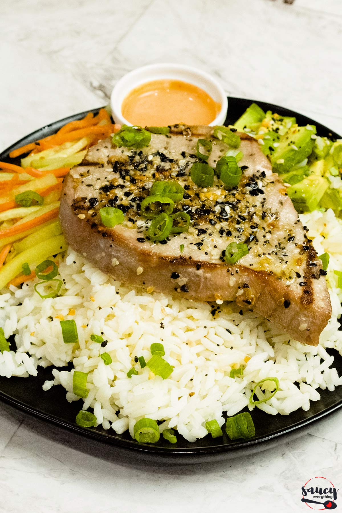 grilled tuna steak served with spicy sriracha mayo