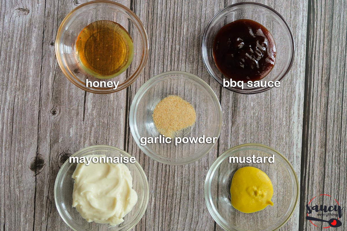 Ingredients to make chick-fil-a sauce with labels