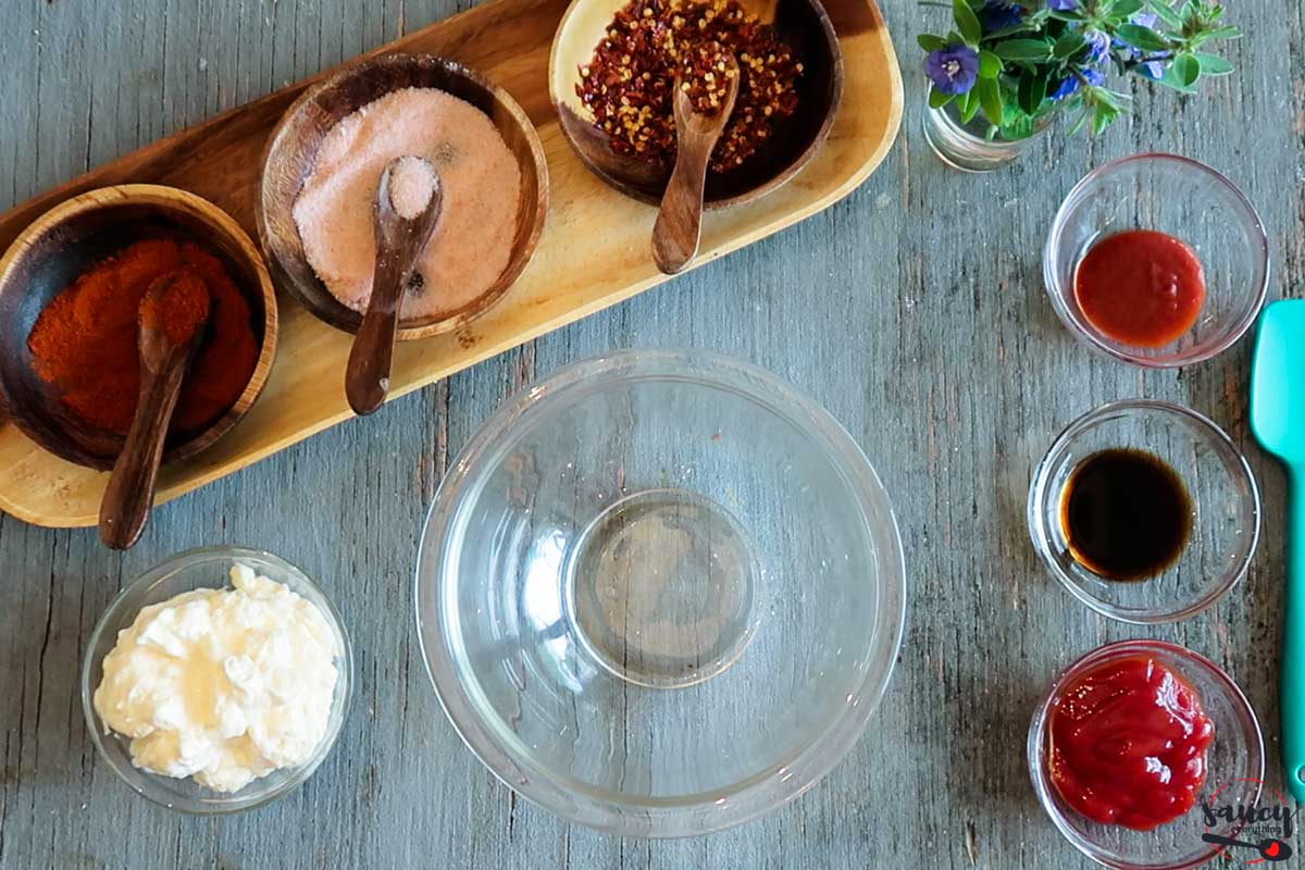 Ingredients for fry sauce on a table