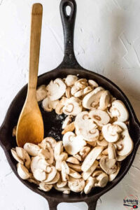 Mushrooms in a cast iron pan