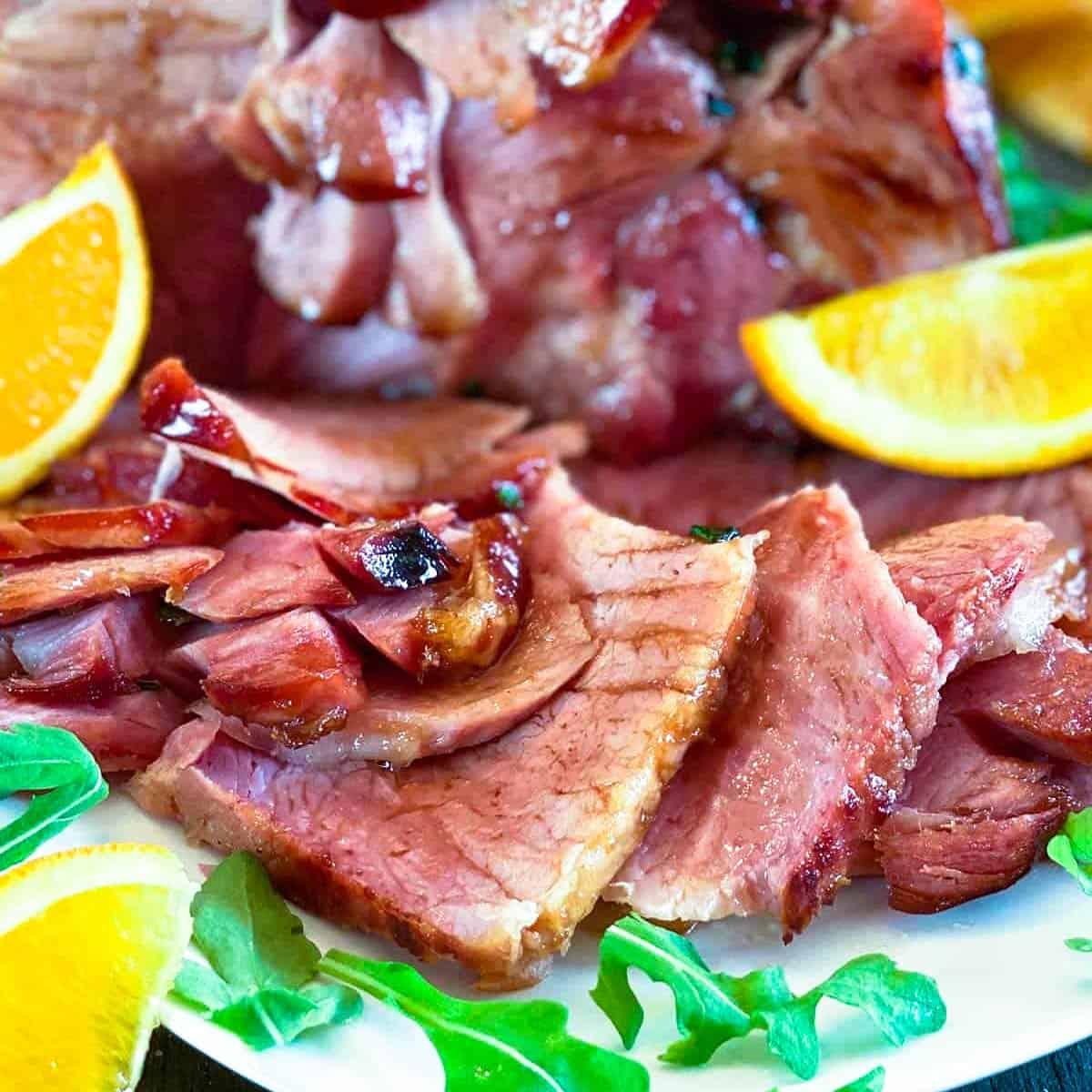 Slices of ham with glaze